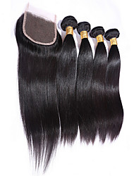 Straight Hairs With Closure 4X4 Size 4 Bundles Human Hair Weft Brazilian Virgin Hairs Women Hair Extensions