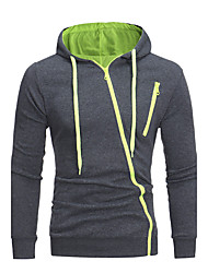 Men's Plus Size Plus Size Casual/Daily Simple Hoodie Solid Cut Out Hooded Micro-elastic Cotton Long Sleeve Fall Winter