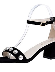 cheap -Women's Sandals Light Soles Spring Fall PU Casual Dress Imitation Pearl Buckle Block Heel Blushing Pink Gray Black 2in-2 3/4in