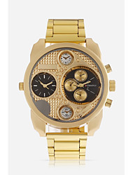 baratos -JUBAOLI Homens Relógio Esportivo / Relógio Militar Chinês Dois Fusos Horários / Legal Metal Banda Relógio Criativo Único Dourada