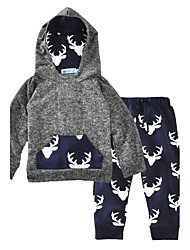 Baby Boy's Cotton Fashion Animal Print Clothing Set Animal Print Spring/Fall Winter Deer Boys 2pcs Outfits