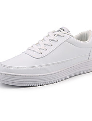 cheap -Men's Sneakers Light Soles Spring Fall PU Casual Dress Lace-up Flat Heel White Black Flat