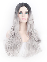 cheap -Synthetic Wig Wavy / Body Wave Synthetic Hair Ombre Hair / Natural Hairline / Middle Part Black / Gray Wig Capless / African American Wig