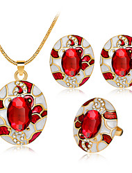 cheap -Women's Jewelry Set - Personalized, Simple Style, Fashion Include Drop Earrings / Necklace / Ring Red / Green / Blue For Wedding / Party / Birthday / Engagement / Gift / Daily / Casual