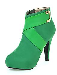 Feminino Botas Gladiador Curta/Ankle Pele Nobuck Outono Inverno Casamento Casual Social Festas & Noite Salto AgulhaPreto Vermelho Verde