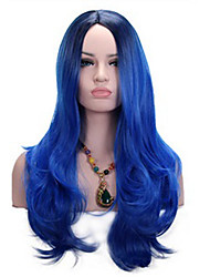 cheap -Heat Resistant Fiber Hair Black Root Ombre Dark Blue Long Wavy Hairstyle Synthetic Cosplay Women Wig