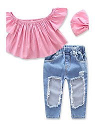 cheap -Girls' Solid Clothing Set, Cotton Spandex Summer Short Sleeves Dresswear Blushing Pink