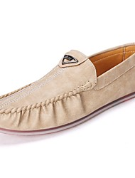 Men's Loafers & Slip-Ons Light Soles Real Leather Spring Fall Casual Ruched Flat Heel Brown Beige Black Flat