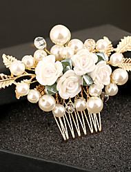 Imitation Pearl Plastic Alloy Hair Combs Flowers Headpiece