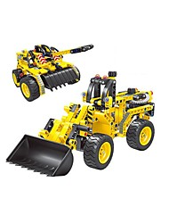 cheap -Remote Control RC Building Block Kit Building Blocks Educational Toy Tank Forklift Excavating Machinery DIY Classic Dozer Boys' Girls' Toy Gift