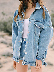 cheap -Women's Going out Denim Jacket - Solid Colored Shirt Collar