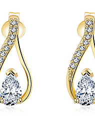 Hoop Earrings Women's Euramerican Fashion Drop Style Gold Zircon Earrings For Party Daily Movie Jewelry
