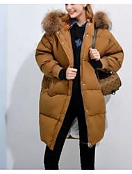 Недорогие -Пальто Секси Простое Очаровательный Длинная Пуховик Для женщин,Однотонный С принтом На выход На каждый день Офис Хлопок Акрил Полиэстер