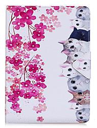Étui pour apple ipad pro 10.5 ipad (2017) pu matériel en cuir motif de chat de fleurs fourreau plat pro 9.7 '' air 2 air 2 3 4