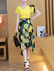 Women's Beach Holiday Going out Casual/Daily Boho Street chic Spring Summer Fall T-shirt Skirt Suits,Floral V Neck Short Sleeve Ruffle
