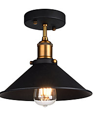 cheap -Diameter 26cm Industrial Ceiling Light Semi Flush Vintage Metal 1-Light Ceiling Lamp Dining Room Kitchen Light Fixture