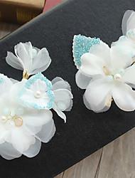 cheap -Tulle Chiffon Lace Fabric Silk Net Flowers Hair Clip Headpiece