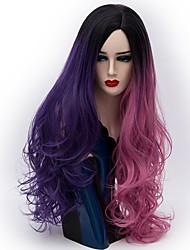 Недорогие -Парики из искусственных волос Естественные волны Розовый Искусственные волосы Волосы с окрашиванием омбре Розовый / Фиолетовый Парик Жен. Длинные Без шапочки-основы Розовый / Фиолетовый