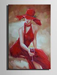 Pintados à mão Pessoas Vertical,Abstracto 1 Painel Tela Pintura a Óleo For Decoração para casa