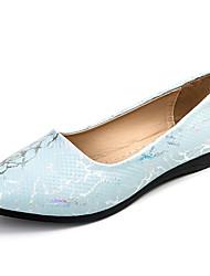 abordables -Femme Ballerines Confort Polyuréthane Eté Décontracté Marche Talon Plat Blanc Bleu Rose 5 à 7 cm