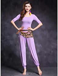 economico -Danza del ventre Completi Per donna Esibizione Modal 2 pezzi Mezza Manica Naturale Top Pantaloni