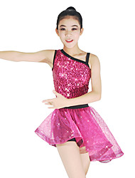 MiDee Latin Dance Dresses Women's / Children's Performance Spandex / Polyester / Organza / Sequined Paillettes / Sequins 1 Piece Sleeveless