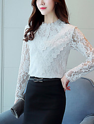 Women's Going out Work Cute Street chic Spring Fall Fashion Slim Lace Blouse Embroidery Round Neck Long Sleeve White Medium