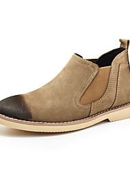 baratos -Homens sapatos Camurça Couro Inverno Outono Conforto Botas Botas Cano Médio Elástico para Casual Escritório e Carreira Preto Cinzento