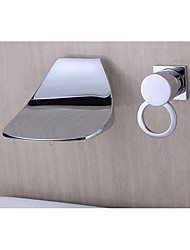 cheap -Bathroom Sink Faucet - Waterfall Wall Mount Chrome Widespread Single Handle Two Holes