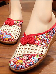 Women's Shoes Fabric Summer Comfort Slippers & Flip-Flops For Casual Black Red Blue