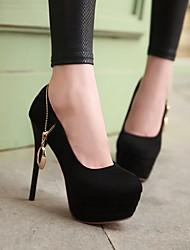 Для женщин Обувь Нубук Полиуретан Весна Осень Удобная обувь Обувь на каблуках Назначение Повседневные Черный Синий Вино