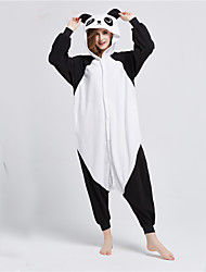 cheap -Kigurumi Pajamas Panda Onesie Pajamas Costume Polar Fleece Black / White Cosplay For Adults' Animal Sleepwear Cartoon Halloween Festival