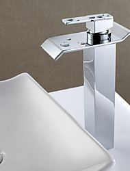 Contemporary Centerset Waterfall High Quality Ceramic Valve Single Handle One Hole Chrome , Bathroom Sink Faucet
