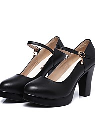 cheap -Women's Heels Basic Pump Spring Fall Real Leather Party & Evening Dress Imitation Pearl Buckle Platform Black 3in-3 3/4in