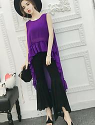 abordables -Mujer Simple Casual/Diario Verano T-Shirt Pantalón Trajes,Escote Redondo Un Color Sin Mangas