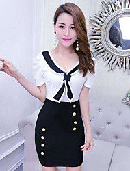 Women's Going out Sheath Dress,Color Block V Neck Above Knee Short Sleeves Polyester Summer High Rise Micro-elastic Thin