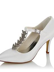 preiswerte -Damen Schuhe Satin Winter Herbst Pumps High Heels Stöckelabsatz Spitze Zehe Kette für Hochzeit Kleid Party & Festivität Weiß