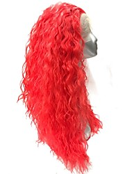 cheap -Lace Front Wig Red Long Curly Hair hairpiece Synthetic Heat Resistant Fiber wig
