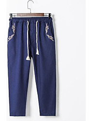 Men's Mid Rise Inelastic Chinos Pants,Chinoiserie Simple Slim Solid