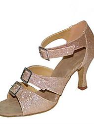 cheap -Women's Latin Shoes Sparkling Glitter Sandal Performance Buckle Cuban Heel Customizable Dance Shoes Black / Almond