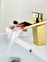 Centerset Waterfall Ceramic Valve One Hole Gold , Bathroom Sink Faucet