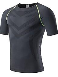 preiswerte -Herrn Laufshirt Kurzarm Atmungsaktivität Dehnbar Schweißableitend T-shirt Sweatshirt Oberteile für Rennen Übung & Fitness Terylen Lose