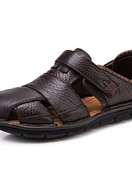cheap -Men's Shoes Nappa Leather Summer / Fall Comfort Sandals Upstream Shoes Coffee