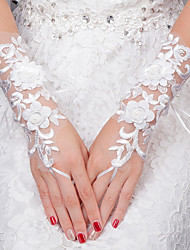 Wrist Length Fingerless Glove Lace Bridal Gloves All Seasons Floral Pearls