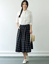 Women's Going out Casual/Daily Simple Fall Shirt Skirt Suits,Solid Plaid/Check Stand Long Sleeve