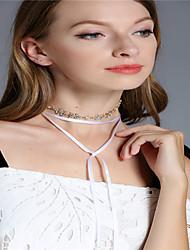 cheap -Women's Leaf Line Personalized Tassels Fashion Multi-ways Wear Multi Layer Choker Necklace Chain Necklace Rhinestone Rhinestone Alloy