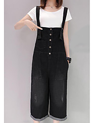cheap -Women's High Rise Micro-elastic Wide Leg Jeans Overalls Pants,Casual Solid Summer
