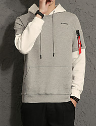 Men's Daily Plus Size Casual Hoodie Color Block Hooded Micro-elastic Cotton Spandex Long Sleeve Spring Fall
