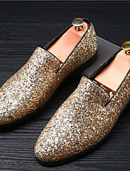 Men's Loafers & Slip-Ons Moccasin Glitter Summer Fall Wedding Casual Office & Career Party & Evening Sparkling Glitter Flat HeelSilver