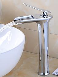 Недорогие -Смеситель - Водопад Хром Настольная установка Одной ручкой одно отверстиеBath Taps